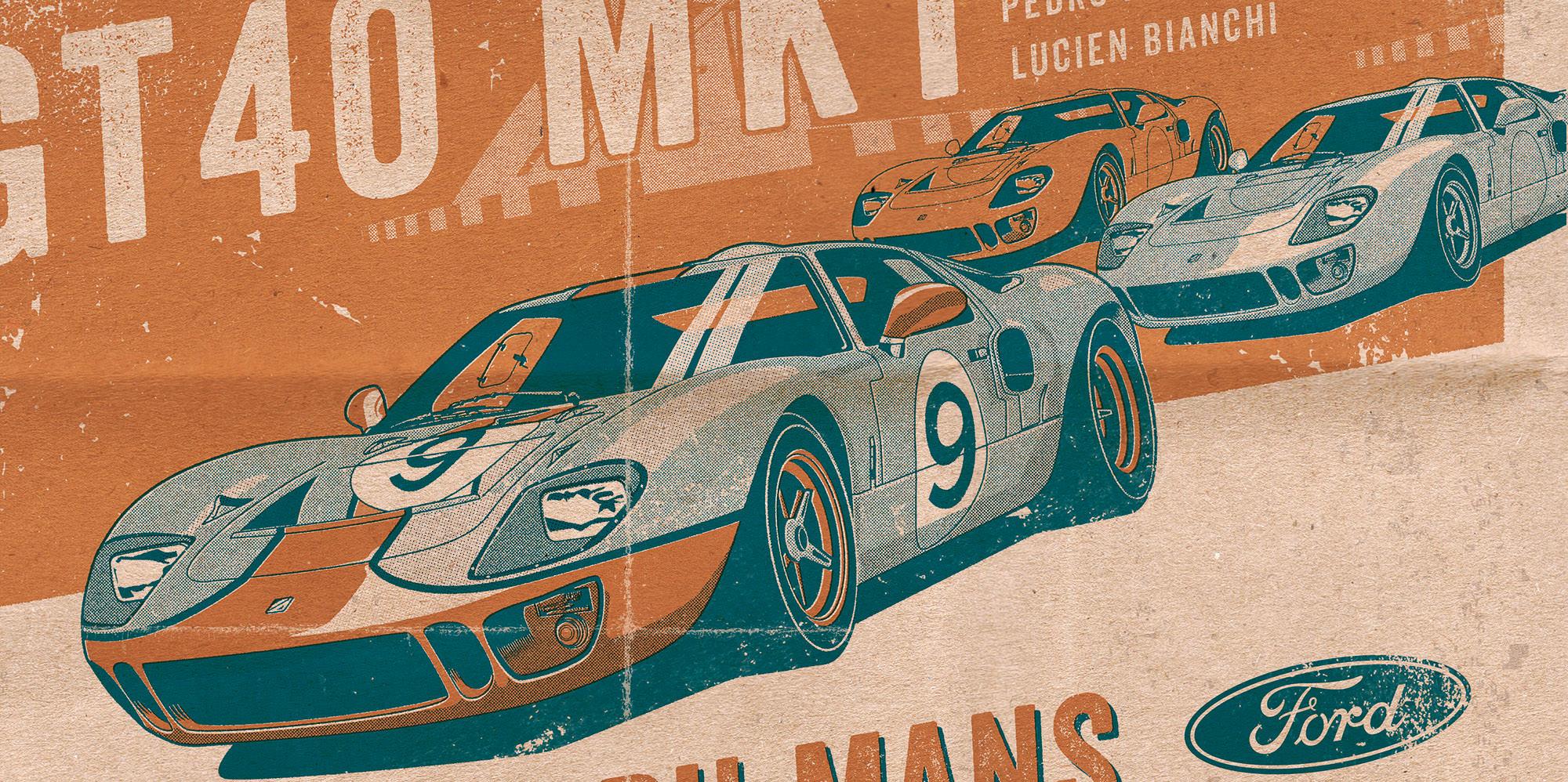Ford GT40 Illustration – Poster 24 Stunden von Le Mans – Sieger 1968 – Pedro Rodriguez und Lucien Bianchi – Detail