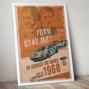 Ford GT40 Illustration – Poster 24 Stunden von Le Mans – Sieger 1968 – Pedro Rodriguez und Lucien Bianchi – Poster im Rahmen