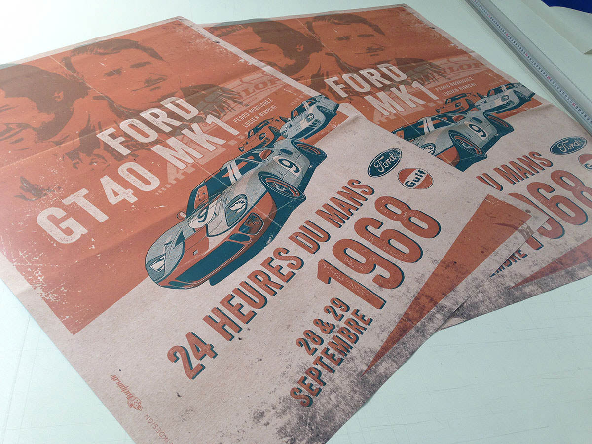 Ford GT40 Illustration – Poster 24 Stunden von Le Mans – Sieger 1968 – Pedro Rodriguez und Lucien Bianchi – Poster gedruckt