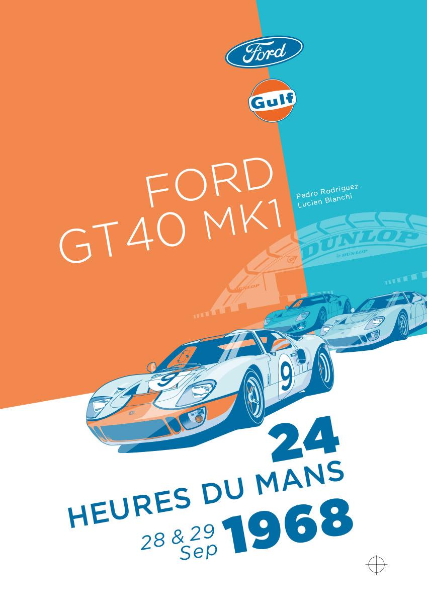 Ford GT40 Illustration – Poster 24 Stunden von Le Mans – Sieger 1968 – Pedro Rodriguez und Lucien Bianchi – Alternativlayout 3
