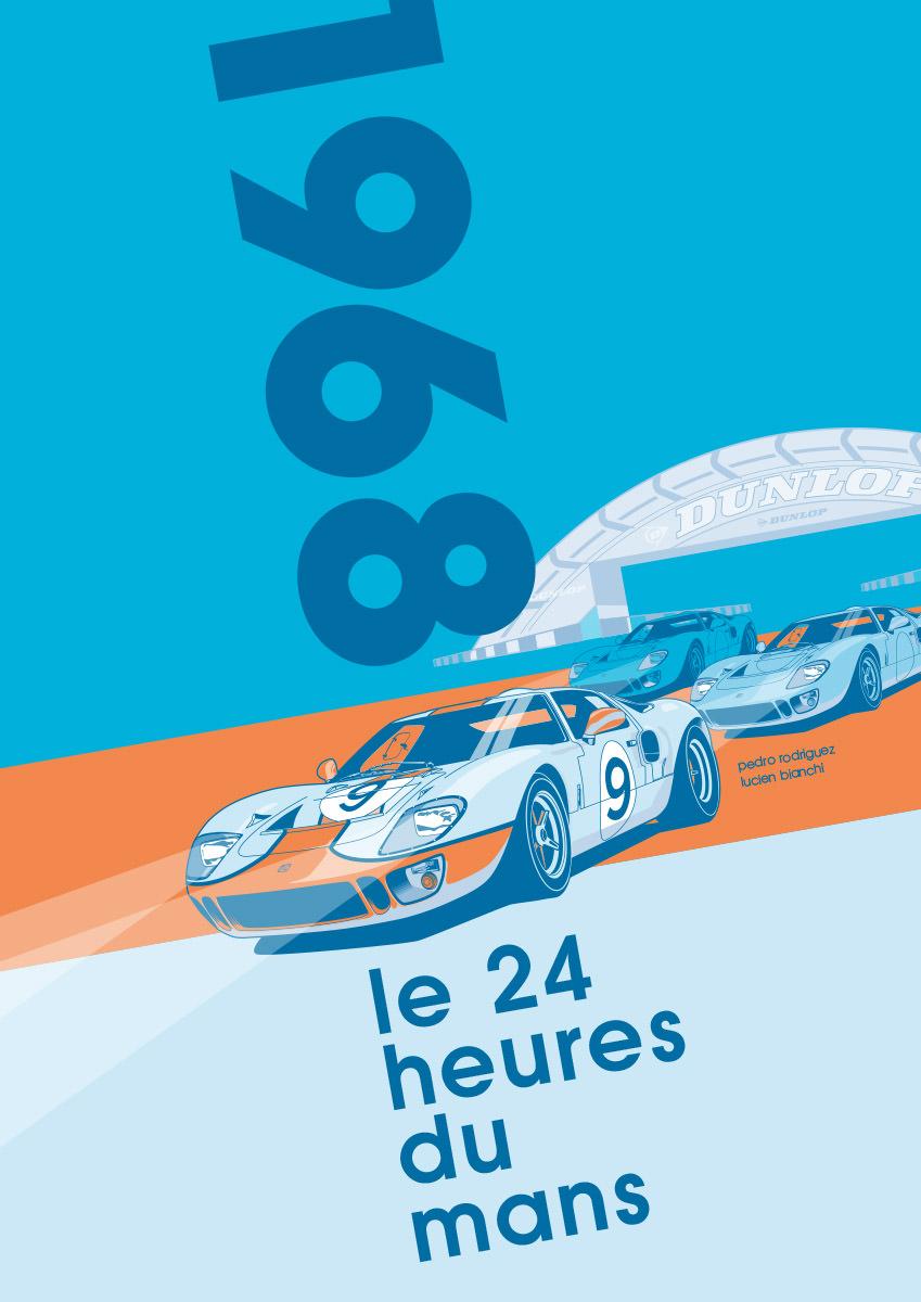 Ford GT40 Illustration – Poster 24 Stunden von Le Mans – Sieger 1968 – Pedro Rodriguez und Lucien Bianchi – Alternativlayout 4