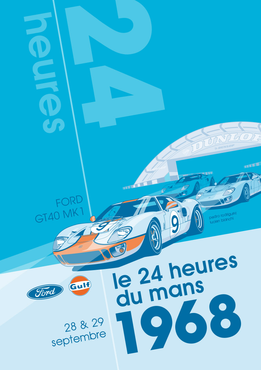 Ford GT40 Illustration – Poster 24 Stunden von Le Mans – Sieger 1968 – Pedro Rodriguez und Lucien Bianchi – Alternativlayout 5