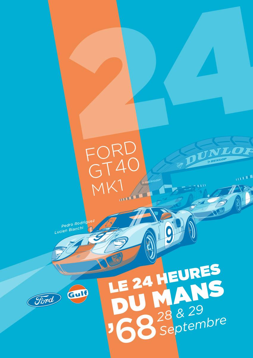 Ford GT40 Illustration – Poster 24 Stunden von Le Mans – Sieger 1968 – Pedro Rodriguez und Lucien Bianchi – Alternativlayout 6