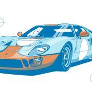 Ford GT40 Illustration – Poster 24 Stunden von Le Mans – Sieger 1968 – Pedro Rodriguez und Lucien Bianchi – colour