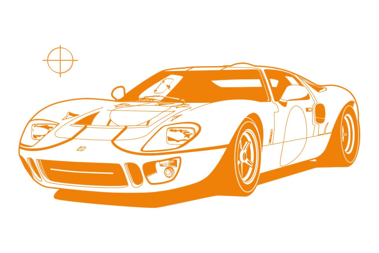 Ford GT40 Illustration – Poster 24 Stunden von Le Mans – Sieger 1968 – Pedro Rodriguez und Lucien Bianchi – monochrom