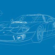 Ford GT40 Illustration – Poster 24 Stunden von Le Mans – Sieger 1968 – Pedro Rodriguez und Lucien Bianchi – Wireframe